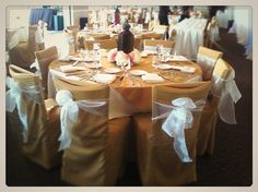 River Walk Country Club Wedding  Sun Gold Chair Covers with Ivory Organza Sashes