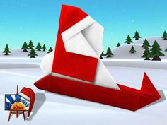 Santa Claus and Sled by Sanae Sakai Designer: Sanae Sakai Folder and Photographer: @Origami_Kids      Difficulty level: Easy. Time to fold 15 min. 20 steps. One uncut square origami piece of paper red and white about 25cm x 25cm. HOW TO FOLD: http://www.origamichristmas.com/2014/12/santa-claus-and-sled-by-sanae-sakai.htm
