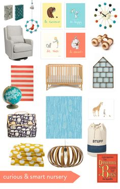 Curious & Smart Nursery from Sarah Jane Studios. What a fun and unique color scheme!