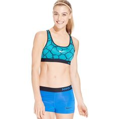 Nike Pro Dri-fit Padded Racerback Mid-Impact Sports Bra ($30) ❤ liked on Polyvore featuring activewear, sports bras, nike sportswear, racer back sports bra, racerback sports bra, padded sports bra and nike