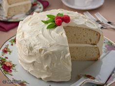 White Velvet Cake - 6 oz white chocolate baking bar, 2 T milk, 2 c all-purpose flour, 3/4 t baking soda, 1/2 t salt, 1/4 t baking powder, 1/2 c butter, 3/4 c sugar, 1 t vanilla, 4 eggs, 1 c sour cream. Frost with buttercream frosting or your favorite flavor.  (A reviewer said she used Cool Whip Cream Cheese Frosting - found in the freezer section- and it was awesome!)