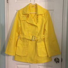 Cute Yellow Jacket Very cute, lightweight jacket  It is used but still looks great  Minor discoloration in spots (as pictured) but nothing noticeable  Population Jackets & Coats