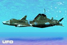 This scene depicts the famous Shado Skydiver prowling under the sea for alien invaders. Ufo Tv Series, Tony Blair, Sci Fi Ships, Under The Sea, Favorite Tv Shows, Science Fiction, Fighter Jets, Scene, Fantasy