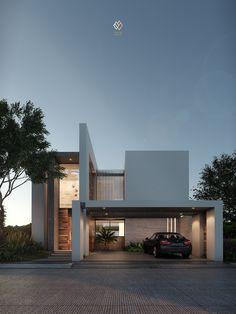 📐Designed By Taller De Escalas . Visualization By Luisö Ramos . Best Modern House Design, Modern Villa Design, Modern Minimalist House, House Front Design, Minimalist Architecture, Facade Architecture, Contemporary Design, Facade Design, Exterior Design