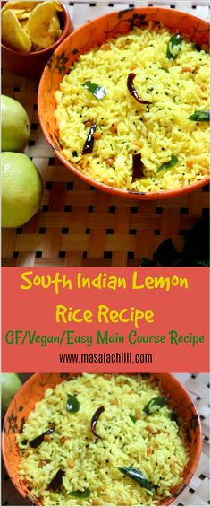 South Indian Lemon Rice A South Indian Rice Variety that is refreshing and tangy, quick to make and ideal for a lunch box option too. #glutenfree #vegan #lemonrice #southindian #travelfood #easyrecipes #vegetarian