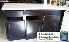 Here's a look at GF Java Gel Stained cabinets.  General Finishes Gel Stain is an easy way to modernize your outdated kitchen cabinets.  Check out GF's Youtube channel at https://www.youtube.com/user/GeneralFinishes to see tutorial videos!