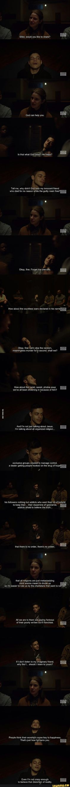 Mr. Robot Elliot's religion quote