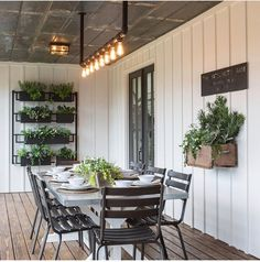 Chip and Joanna Gaines Transformed This Old Shack into a Dream Farmhouse Home Decor / Decorating / Dream Home / Farmhouse Decor / Farmhouse Inspiration / Backyard Inspiration / Farmhouse Patio / Outdoor Dining Farmhouse Front Porches, Modern Farmhouse Exterior, Farmhouse Design, Farmhouse Decor, Industrial Farmhouse, Farmhouse Ideas, Farmhouse Garden, Farmhouse Shelving, Modern Industrial