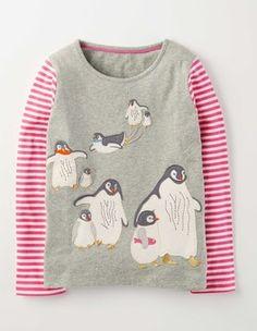 Grey Marl Penguins Arctic Animals T-shirt Boden