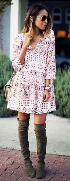 pink printed dress + over the knee boots