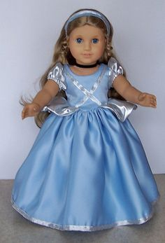 American Girl Doll Clothes - Cinderella Gown With Accessories and Shoes - 18 Inch Doll Clothes by Magicgeniecrafts on Etsy https://www.etsy.com/listing/66844201/american-girl-doll-clothes-cinderella