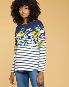 Joules Harbour Print Jersey Top Shirt in Navy and Gold Camellia Border Long Tops, Long Sleeve Tops, Long Sleeve Shirts, Sweaters For Women, T Shirts For Women, Clothes For Women, Joules Clothing, Women Figure, Formal Dresses For Women