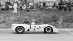 "Mosport, 1969. John Surtees drives his Chaparral-McLaren M12. While Surtees despised the Chaparral 2H, he found the well prepared M12 ""a proper racing car"". Al Bochroch photo."