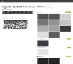 "Requisite Rope Liner Wall Tile 1/2"" x 6"". Medallions. Flooring & Rugs. Menards. Behr. Benjamin Moore. PPG Pittsburgh. Dutch Boy.  Click the gray Visit button to see the matching paint names."