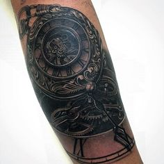 Man With Muted Grey Pocket Watch Tattoo On Forearms
