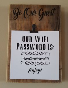7 1/2 x 10 Reclaimed Wood Be Our Guest WiFi Password Sign/Plaque More