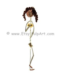 Naked woman stick figure, made of pressed flowers and herbs - Digital print of OOAK - Unique greeting card - Oshibana - Pressed flower art