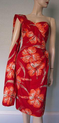 ba61e8609fdb 1950s Shaheen Orchid Print Cotton Sarong Dress by KittyGirlVintage, $440.00  Vintage Tiki, Vintage Hawaiian