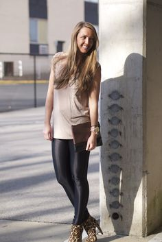 love this look...@Fringe and Lace top with American Apparel disco pants and Sam Edelman leopard booties