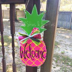 Pineapple Door Hanger Summer Hand Painted Door Hanger