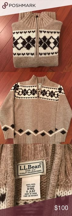 Men's Shetland Wool Sweater (M) Cozy and warm!  Men's 100% Shetland wool sweater in rich shades of tan, cream, and chocolate. L.L. Bean Sweaters Zip Up
