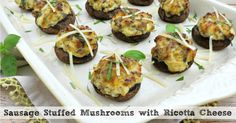 Whether you serve them as an appetizer or as a main meal, these sausage stuffed mushrooms are sure to be a hit! Ricotta gives the filling added creaminess!
