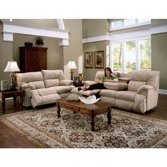Franklin Tristin Beige Microfiber Dual Reclining Sofa & Love Set | Overstock.com Shopping - The Best Deals on Sofas & Loveseats