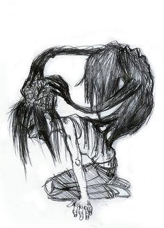Inner Demons by Cosmiksquirel on DeviantArt Demon Drawings, Creepy Drawings, Dark Art Drawings, Art Drawings Sketches, Arte Horror, Horror Art, Dark Art Illustrations, Illustration Art, Demon Artwork