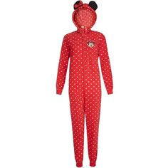 Teens Red Fleece Polka Dot Minnie Mouse Onesie ❤ liked on Polyvore
