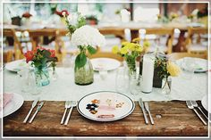 16. Table setting theme: Rustic outdoors with mismatched china and cloth napkins featuring the colors from my theme of course.  #modcloth  #wedding