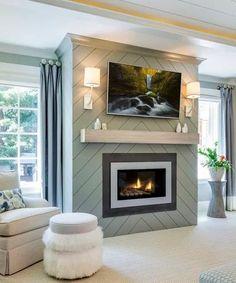 Fireplace Accent Walls, Shiplap Fireplace, Small Fireplace, Bedroom Fireplace, Home Fireplace, Fireplace Remodel, Living Room With Fireplace, Fireplace Surrounds, Fireplace Ideas
