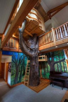 Bedroom, Kids Bedroom Indoor Tree House Design: Cool Interior Kids Bedroom with The Tree House Style