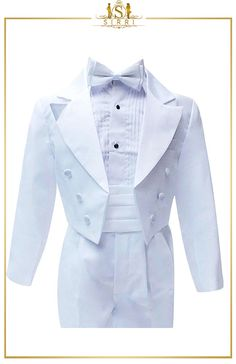 A sophisticated and tailored look, this boy's white Couche tot morning suit has everything that you need for a complete formal look. We've even included a lovely pintuck shirt and bow tie so there's no hassle to get everything together. Shop now at SIRRI kids #childrens suits #boys 3 piece suit #kids wedding suits #boys communion suits