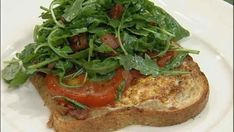 Toad in a Hole with Arugula Bacon Salad