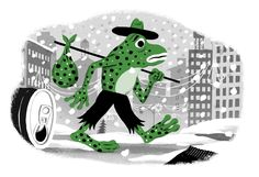 Happy New Year! Starting off the new year by starting a new blog. Hopefully I'll be a bit better at updating this one!  I drew this hobo frog for the New York Times just before Christmas. It went along with a nice little story about a woman who finds a frog in a packet of lettuce on Christmas eve!