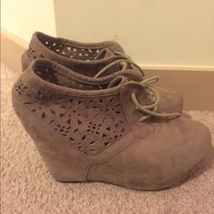 Lace-up suede wedge booties These adorable taupe wedge booties have a great floral cutout on the sides, perfect for spring! Worn once. Rue 21 Shoes Ankle Boots & Booties