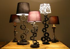 Mechanical car parts changed into unique metal lamps. Handmade by Veqilo.pl