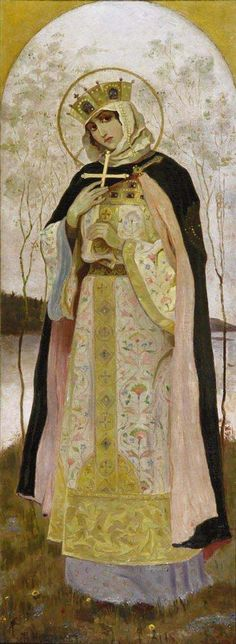 St. Olga as painted by Nesterov, a Russian religious symbolism painter. 1892.