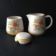 creamer and sugar bowl set, vintage retro kitchen decor, ceramic sugar bowl with lid, ceramic creamer & sugar container, vintage housewares - pinned by pin4etsy.com