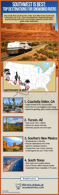 The Southwest is a great destination for all types of snowbirds, especially RV owners. Take your motorhome to paradise in one of these desert or tropical spots.