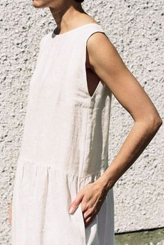 white linen dress with simple cut