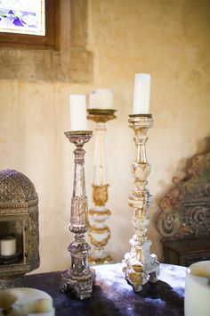 Large Gold or Antique Gold Candles - so lovely! See more wedding #inspiration on SMP:  http://www.StyleMePretty.com/california-weddings/2013/12/05/french-inspiration-shoot-from-jen-wojcik-photography/ Jen Wojcik Photography