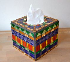 Glass mosaic tissue box