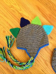 Dinosaur Crochet Hat With Tail Photography Prop  Made to Order Newborn Baby. $18.00, via Etsy.