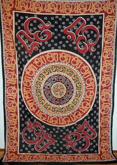 """OM Aum Symbol Yoga Indian Chakra Mantra Boho Bohemian Hippie India Wall Hanging 100% Cotton Hand-Loomed TAPESTRY Bedspread Throw 72"""" x 108""""  http://4rissa.storenvy.com/collections/652117-tapestries-bedding/products/6591049-om-aum-yoga-indian-chakra-mantra-hippie-india-wall-tapestry-bedspread-72-x"""