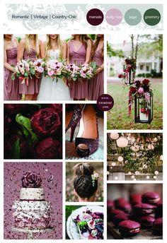 Mariage // Wedding color palette- Marsala, dusty rose, sage, greenery – Swarose: