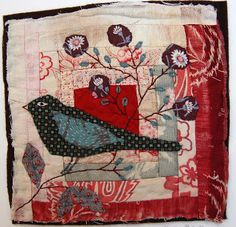 applique bird on old log cabin quilt square by Mandy Pattullo