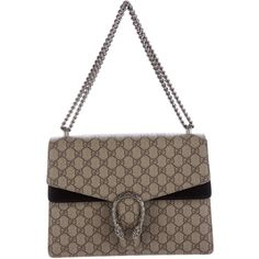 Pre-owned Gucci Medium GG Supreme Dionysus Shoulder Bag ($2,050) ❤ liked on Polyvore featuring bags, handbags, shoulder bags, brown, man shoulder bag, gucci handbags, handbags shoulder bags, zipper shoulder bag and man bag