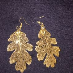 """24k dipped earrings Local artist who dips actual leaves in gold to make jewelry. 2-2.5"""" long. Custom Jewelry Earrings"""
