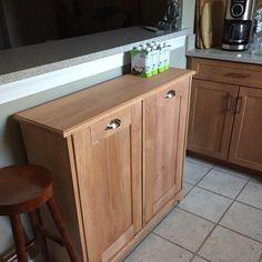 Wood Trash Can, Recycling Bin, Storage Bin, Solid Pine Garbage Can Storage, Trash Barrel, Custom Kitchen Island, Recycling, Wood Trash Can, Beadboard, Custom Kitchen, Wooden Bins, Storage Bin